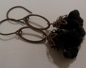 Antique copper Dangle Black Frosted Lucite Calla Lily Earrings