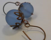 Frosted Blue Round Sea Glass Earrings-Antique copper