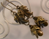 Dangle Antique Bronze Leaf  Charm Earrings
