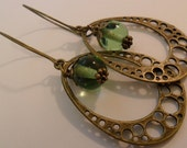 Huge Antique Bronze  Charm with Round Green Glass Earrings