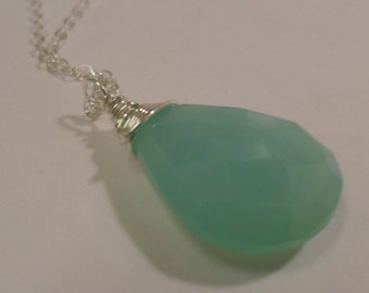 Opaque Aqua Chalcedony Gemstone  Silver Necklace Was 23.99  Now 21.50  -FREE SHIPPING