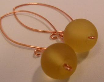 Lovely Dangle Yellow Frosted Rondelle Glass Earrings
