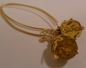 Lovely Dangle Round Faceted Citrine/Yellow Glass Earrings