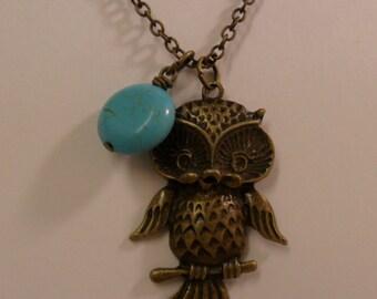 Lovely Owl Charm with Round Flat Turquoise Gemstone Necklace