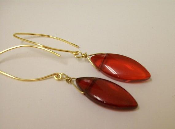 Red glass diamond shape earrings