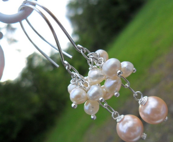 Bridesmaid Gift/Wedding Gift-The White Fresh Water Pearls with Pink Round Mother of  Pearl- Sterling Silver