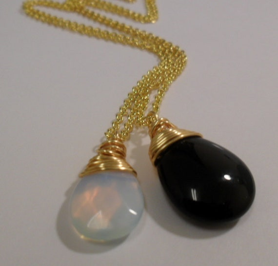 SALE - Lovely Smooth Semiprecious Black Onyx Briolette and Waterdrop Opal Faceted Gemstone Necklaces