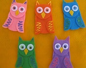 5 Owls Finger Puppets with laminated rhyme, handcrafted from felt
