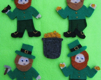 Leprechauns & Pot of Gold Finger Puppets with laminated rhyme