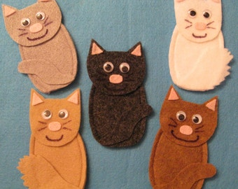 5 Cat Finger Puppets with rhyme, handcrafted from felt