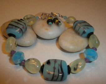Pre Summer Sale! Pretty Blue Lampwork Bracelet