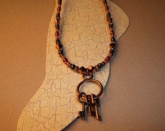 Three Keys Antique Copper Ankle Bracelet