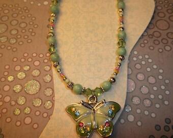 Beautiful Green Swarovski Butterfly Ankle Bracelet