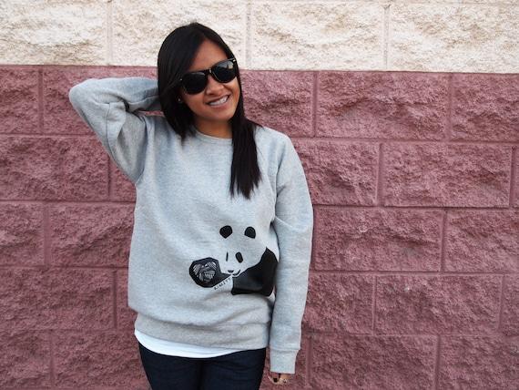 Heather Grey Unisex Crewneck Sweater / Panda Heart / Size S, M