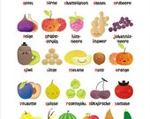 Fruit and Vegetable German Alphabet Poster by MarlaSea on Etsy