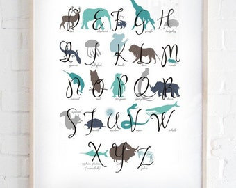 A2 Animals Alphabet Poster by MarlaSea