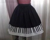 Lolita Black Piano Border Skirt