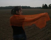 Orange lace scarf, linen and silk - Free Shipping