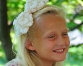 Daisy Hair Bow - Ivory or White