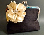 Flower Girl Clutch Black with Ivory Flower Pin Clutch in Silk Dupioni