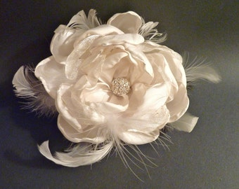 Fascinator Ivory Cabbage Rose with Rhinestone and Feathers Large