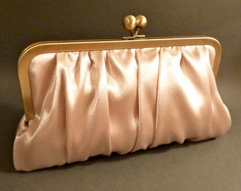Bridal Clutch Bridesmaid Clutch Champagne Satin Clutch