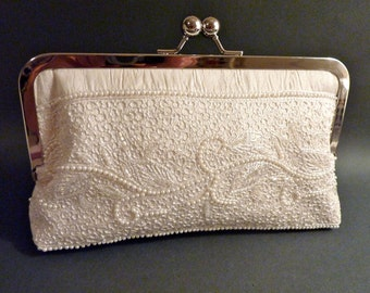 Bridal Clutch Couture Ivory French Lace Silk with Hand sewn Pearl trim