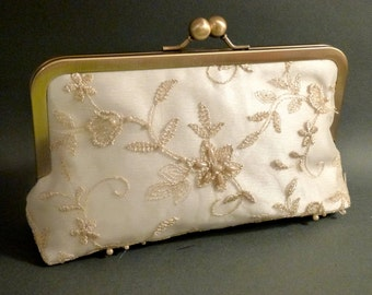 Bridal Clutch Champagne Beaded Lace Overlay on Ivory with Pearls