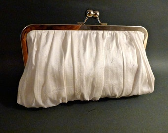 Bridal or Bridesmaid Clutch Ivory or White Dupioni Silk Gathered Clutch Holiday New Years Christmas