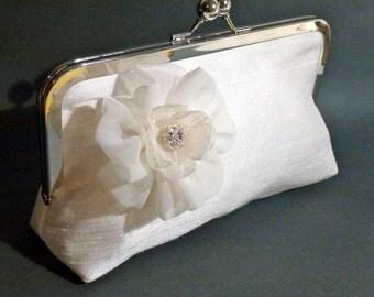 Bridal Clutch or Bridesmaid Clutch with Tulip Flower and Rhinestone Center