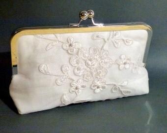Bridal Clutch Alencon Lace Ivory Flower Pattern SALE