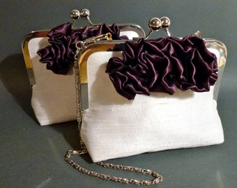 Flower Girl Clutch with 3 Contrast Rosettes Couture Silk Dupioni