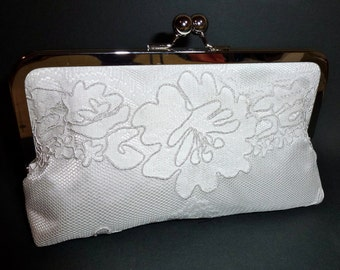 SALE Bridal Clutch Alencon Embroidery Lace Clutch Light Ivory