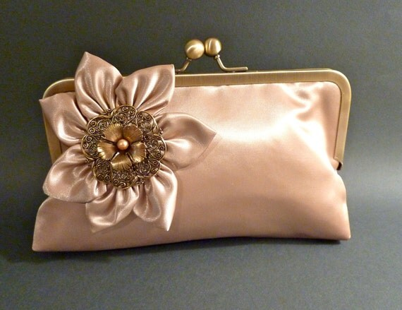 Bridesmaid Clutch Gold Champagne Satin Clutch with Flower