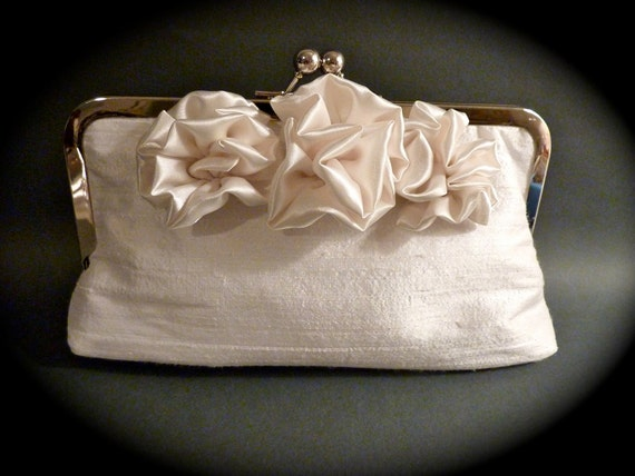 Bridal Clutch with 3 Satin Flowers Bridesmaid Customize Holiday Prom