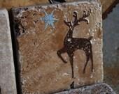 Stone Drink Coaster Reindeer Snowflake (Set of 4)
