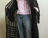 Black crochet long sweater