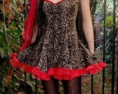 Faux Leopard and Red Lace Dress
