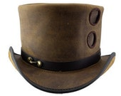 Port Hole Steampunk Leather Top Hat