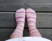 Hand knitted socks size 6.5-7.5- pink and green