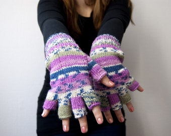 Hand knit fingerless gloves - pink , blue and green