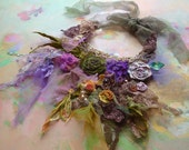 Necklace Beautiful Artisic textiles SPRING GREEN and VIOLET and ROSes and.... - Paulina722
