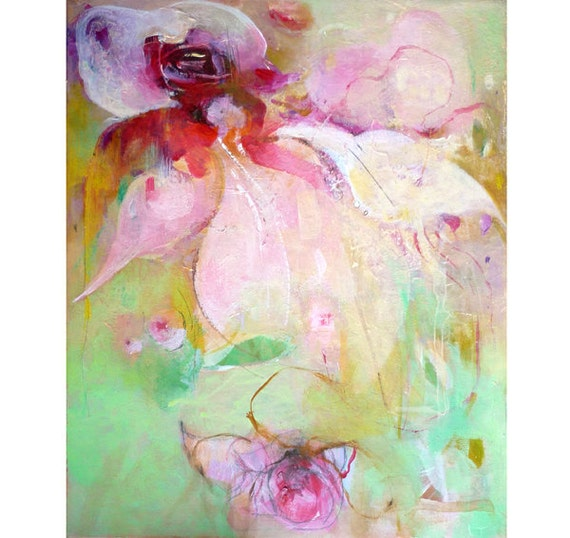 Reserved for Summer TWO ORCHIDS4 Original Painting on canvas 13x11