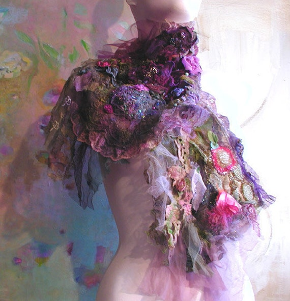 Elegant Shawl SECRET GARDEN with Roses