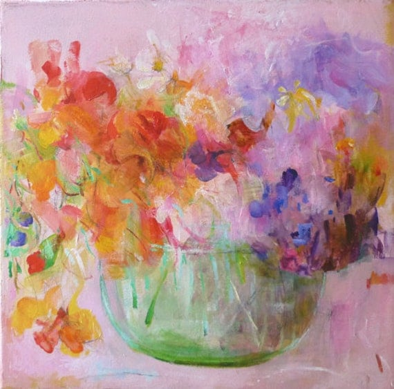 NASTURTIUMS in a BOUQUET Original Abstract Painting on canvas 10x10