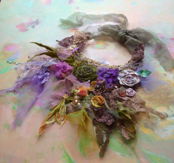 Necklace Beautiful Artisic textiles SPRING GREEN and VIOLET and ROSes and....