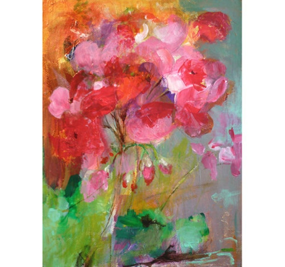 GERANIUM Original Abstract Painting on Stretched Canvas