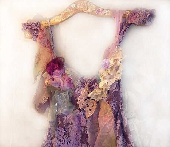 One of a Kind TOP Purple Pink Lavender Violet Creamy Aqua Beautiful Boho Country Hippi Vintage Antique Lace Rose Floral