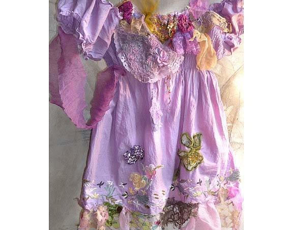 Cotton Lavender Tunic DROOPING SLEEVES Lilak Purple Green Pink Apicot  Hippie Boho Rustic Folk