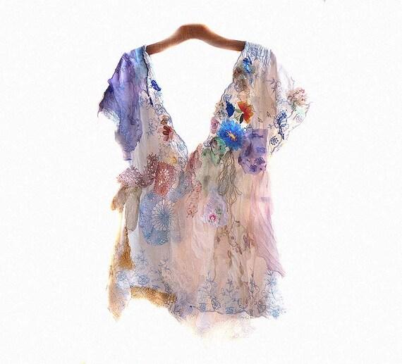 Hippi Art Tunic  PORCELAIN COTTON  Lovely Girls Boho Wilde Silk Etno Rustic Romantic Country
